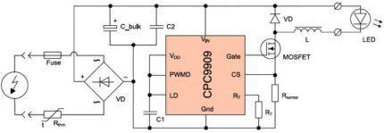 Многофункциональная электрическая схема светодиодной лампы