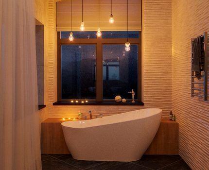 Филаментные светодиодные лампы в интерьере ванной комнаты