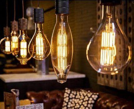 Филаментные светодиодные лампы в интерьере