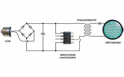 Схема со светодиодным мостом