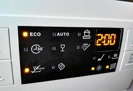 Индикация на панели управления посудомойки Электролюкс