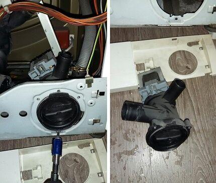 Прочистка сливной помпы и патрубка