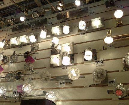 Галогенные лампы в магазине