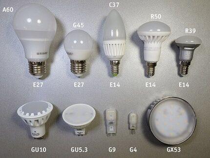 Варианты корпусов и цоколей светодиодов