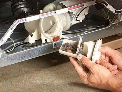 Засорение фильтра посудомойки