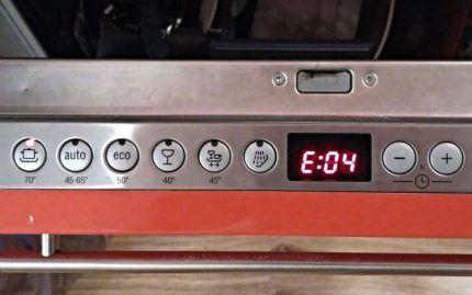 Ошибка на дисплее посудомойки