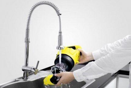 Промывка циклонного фильтра водой
