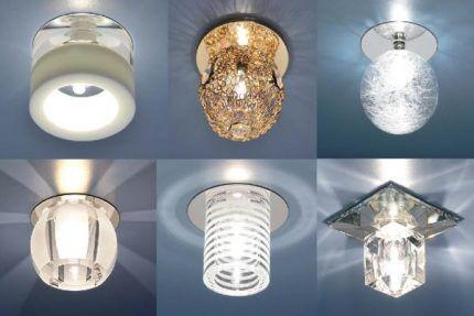 Светильники с различными лампами для натяжного потолка
