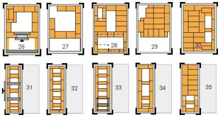 Выполнение кирпичной кладки печки 26 - 35 ряд