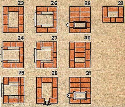 Порядовка дачной печки с 23-го по 32-ой ряды
