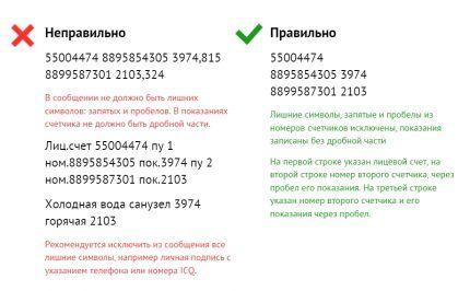 Образец СМС-сообщения о показаниях водосчетчика