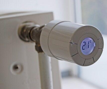 Кран для батареи отопления с терморегулятором