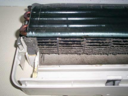 Загрязненный внутренний блок сплит-системы