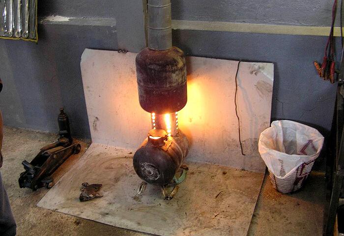 Использование печки на отработанном масле