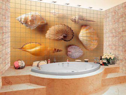Панно на стене ванной