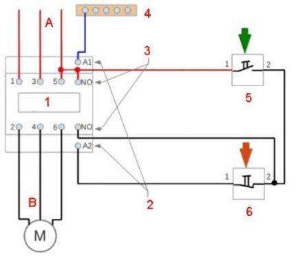Схема подключения электромагнитного пускателя