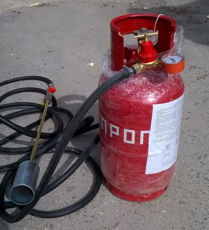 Газовый баллон с пропаном для подключения к ГВ горелке