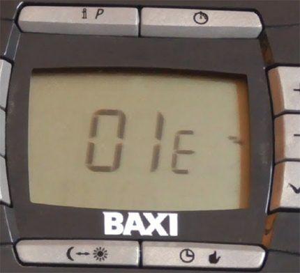 Код ошибки Baxi 01E