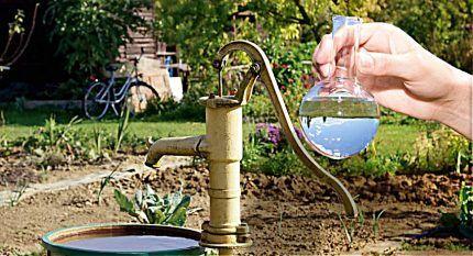 Вода из скважины в колбе