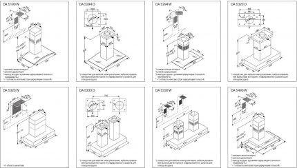 Примеры схем установки вытяжек