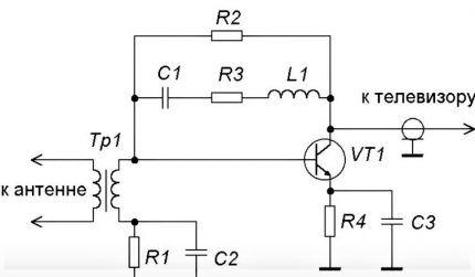 Схема усилителя антенны