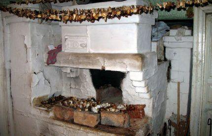 Сушка грибов на русской печи