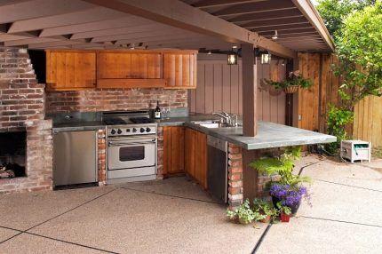 Газовая плита в летней кухне