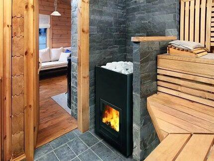 Печка на газу и дровах в русской и финской бане