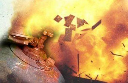 Огненный шар при взрыве баллона