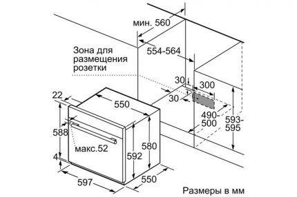 Монтажный чертеж газового духового шкафа