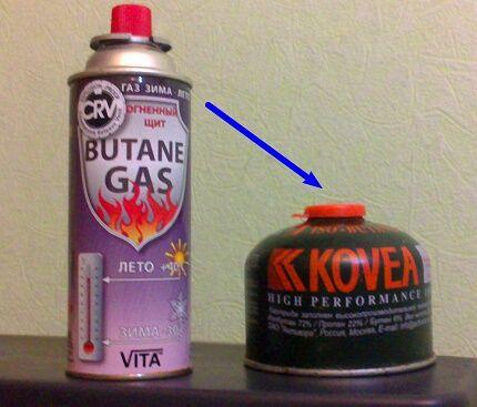 Газовые баллончики с цанговым и резьбовым видом соединения