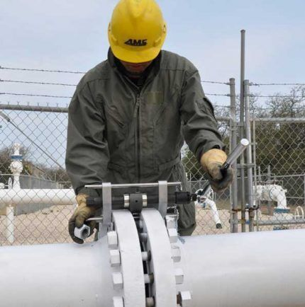 Фланцевое соединение газопровода