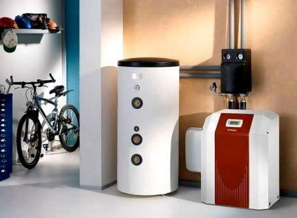 Современный напольный газовый котел в котельной