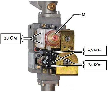 Сопротивление катушек газового клапана котла Baxi