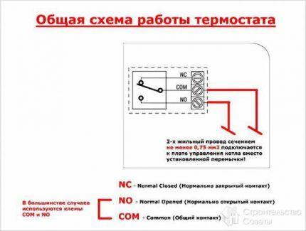 Подключение механического термостата