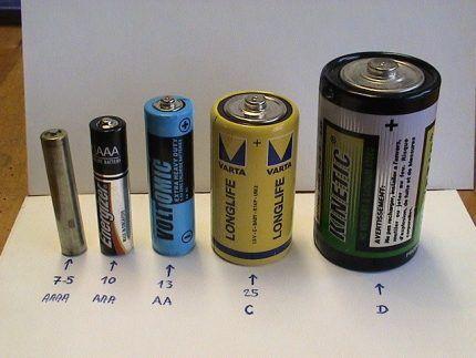 Батарейки для колонки на фоне других батареек