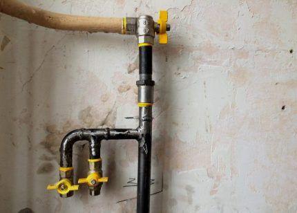 Разводка газовой трубы на два прибора