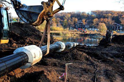 Прокладка газовой трубы под рекой