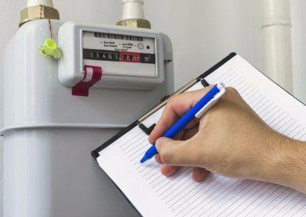 Снятие показаний газового счетчика