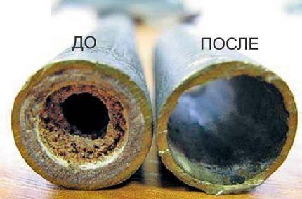 Трубки теплообменника до и после чистки
