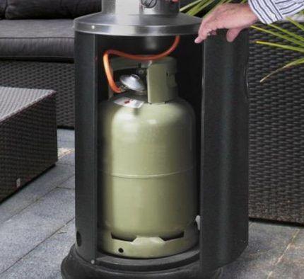 Расположение баллона внутри газового обогревателя