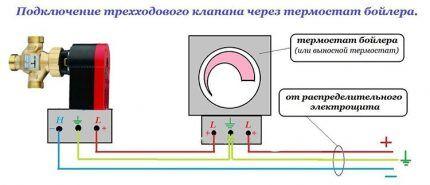 Подключение трехходового клапана через термостат бойлера