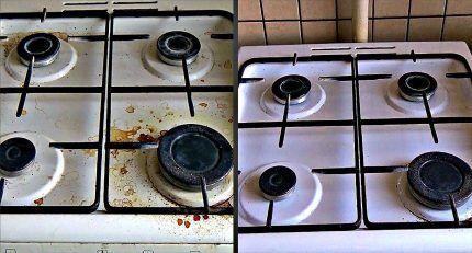 Эмалированная поверхность газовой плиты