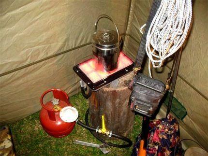Газовый обогреватель в палатке