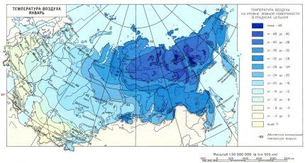 Средняя температура воздуха в Январе