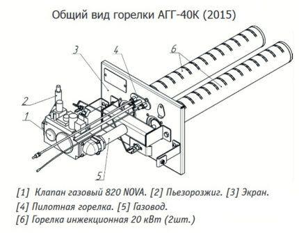 Горелка для установки в твердотопливную печь