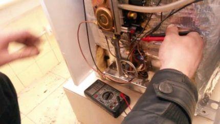Проверка электрических соединений газового котла