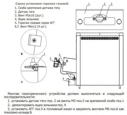 Схема установки газовой горелки в агрегат