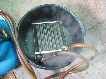 Промывка теплообменника в химическом растворе