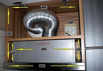 Кухонная вытяжка в шкафчике